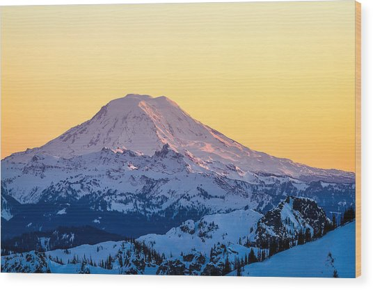 Mount Adams Sunset Wood Print