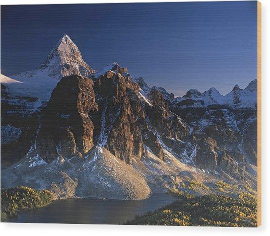 Mount Assiniboine And Sunburst Peak At Sunset Wood Print