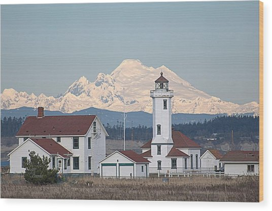 Mount Baker And Point Wilson Light Station Wood Print