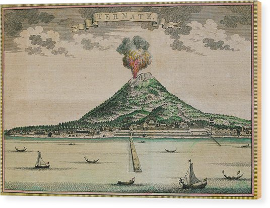 Mount Gamalama Volcano Erupting Wood Print by George Bernard/science Photo Library