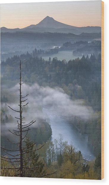 Mount Hood And Sandy River At Sunrise Wood Print