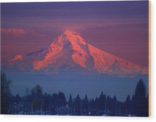 Mount Hood At Sunset Wood Print by DerekTXFactor Creative