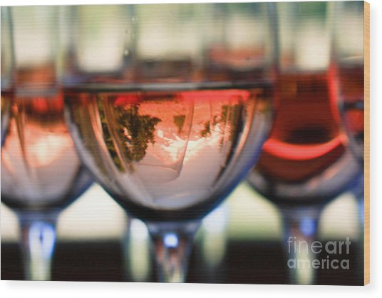 Mount Hood In A Wine Glass Wood Print by Cari Gesch
