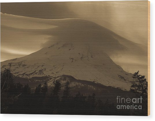 Mount Hood In The Clouds Wood Print by Cari Gesch