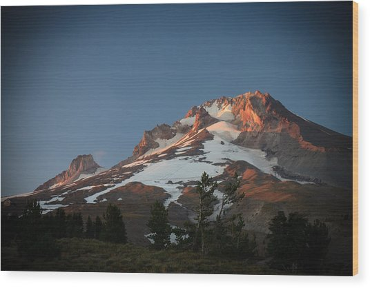 Mount Hood Summit In Warm Glow Wood Print