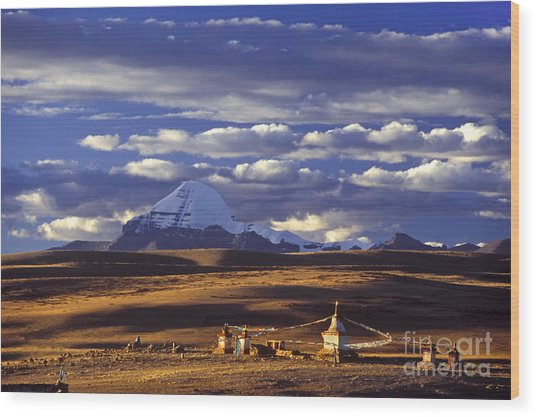Mount Kailash And Chiu Gompa - Tibet Wood Print