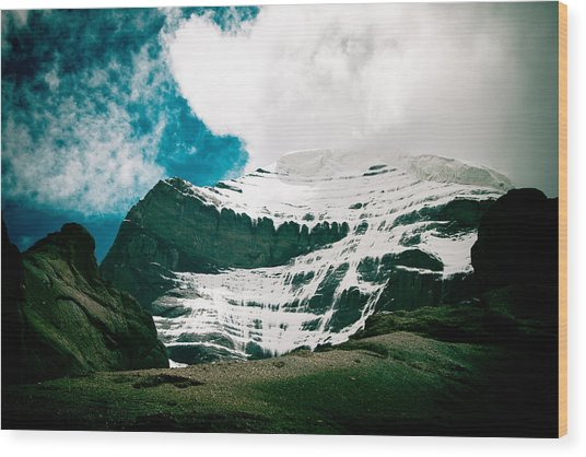 Mount Kailash Western Slope Home Of The Lord Shiva Wood Print