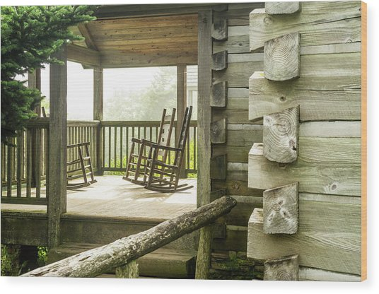 Mount Leconte Lodge Porch, Great Smoky Wood Print