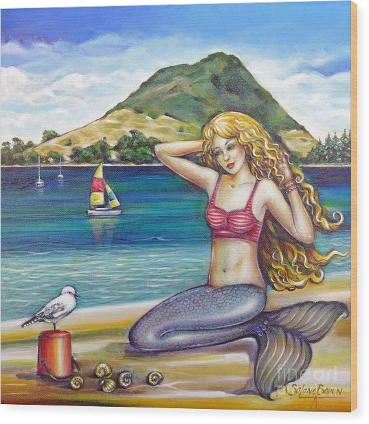 Mount Maunganui Beach Mermaid 160313 Wood Print