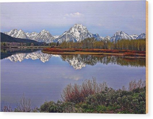 Mount Moran And Jackson Lake Wood Print