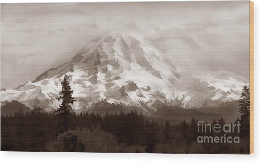 Mount Rainer Wood Print
