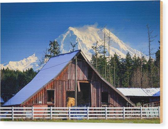 Mount Rainier And Barn Wood Print
