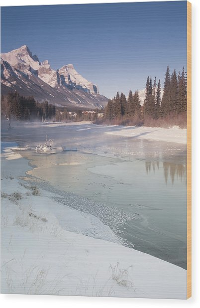 Mount Rundle And Creek In Winter  Wood Print by Richard Berry