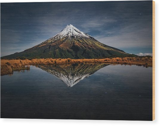 Mount Taranaki - A Starry Night Wood Print