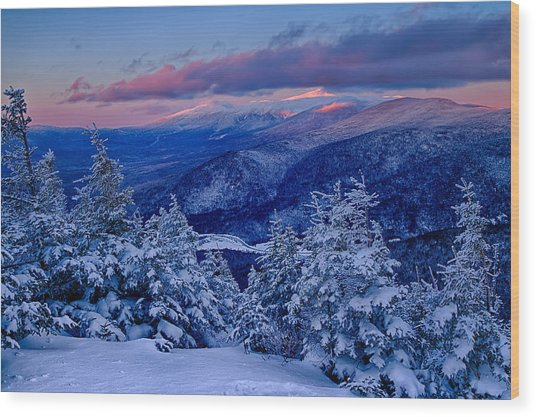 Mount Washington In The Evening Light From Mt Avalon Wood Print