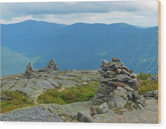 Mount Washington Rock Cairns Wood Print
