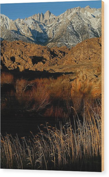 Mount Whitney From The Alabama Hills In California Wood Print