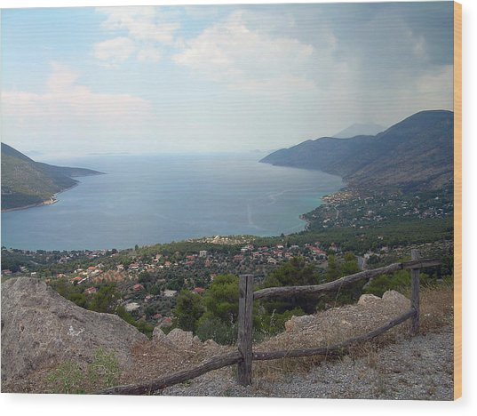 Mountain And Sea View In Greece Wood Print