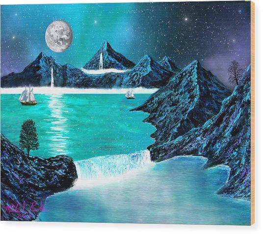 Mountain Bay Wood Print by Michael Rucker