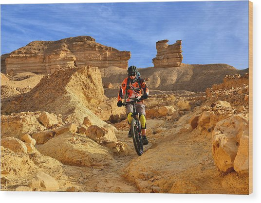 Mountain Biker In A Desert Wood Print