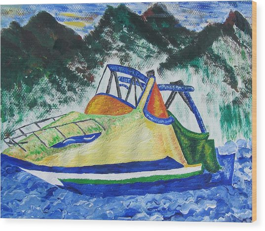 Mountain Boating Wood Print by Debbie Nester