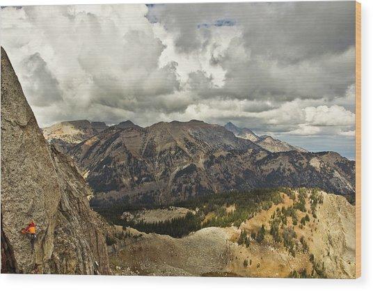 Mountain Climbing In Jackson Hole Wood Print