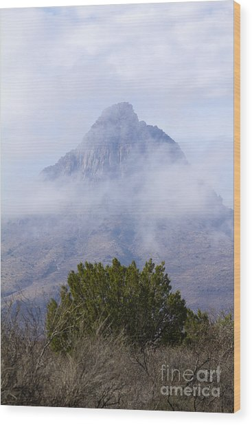Mountain Cloaked Wood Print