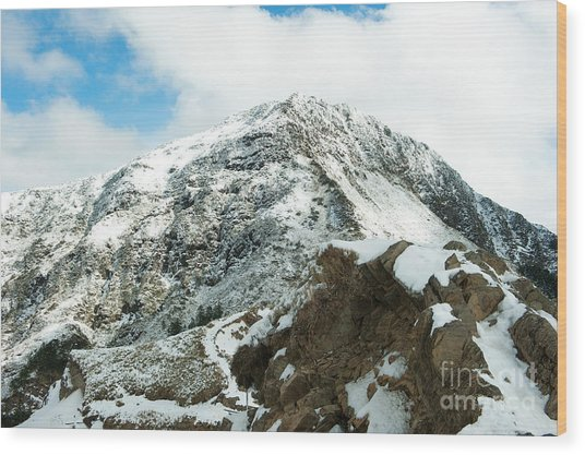 Mountain Covered With Snow Wood Print