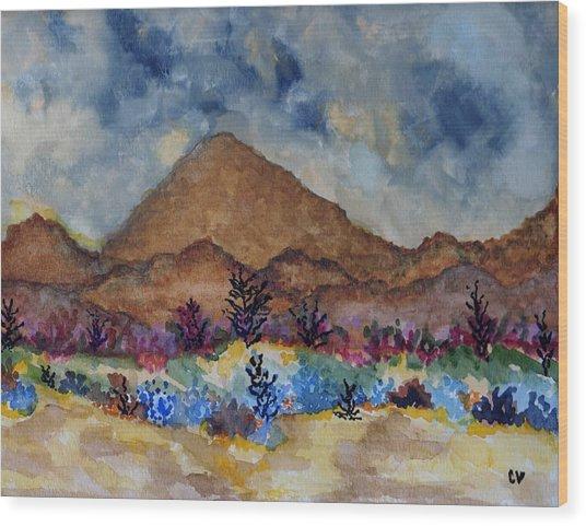 Mountain Desert Scene Wood Print