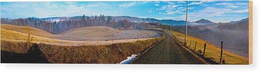 Mountain Farm Panorama Version 2 Wood Print