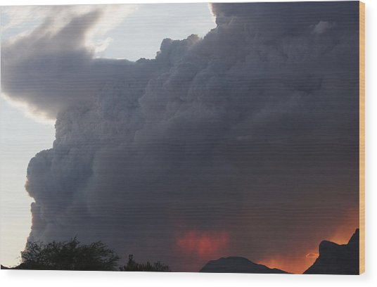 Mountain Fire Wood Print