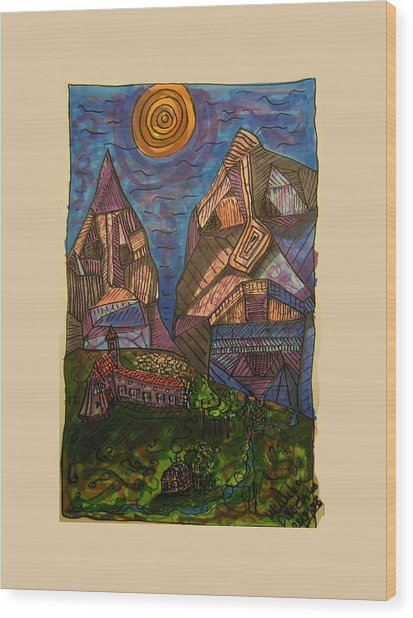 Mountain Folk Wood Print