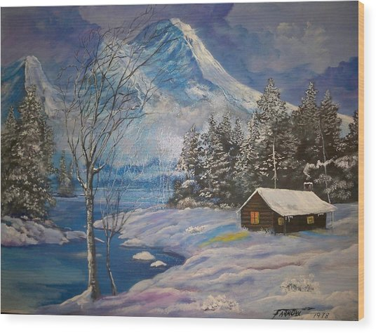 Mountain Hideaway Wood Print