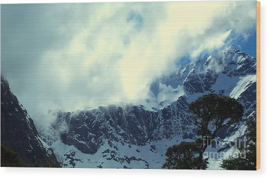 Mountain In New Zealand Wood Print