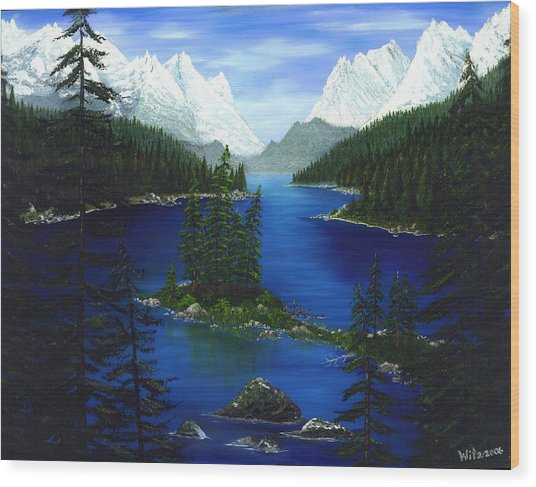 Mountain Lake Canada Wood Print