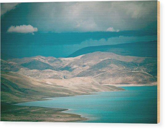 Mountain Lake In Tibet Peiku-tso Wood Print