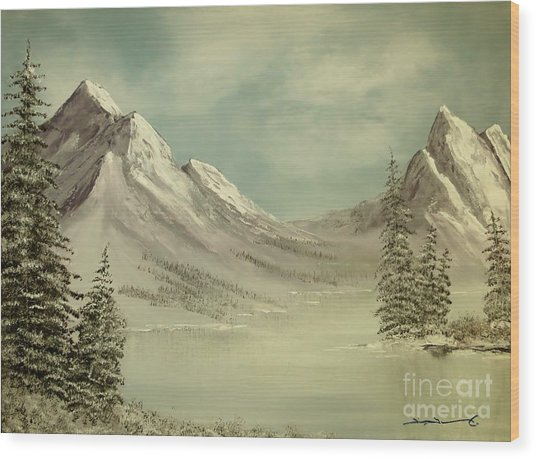 Mountain Lake Winter Scene Wood Print