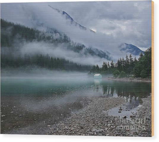 Mountain Lake With Heavy Fog Ross Lake Washington Wood Print