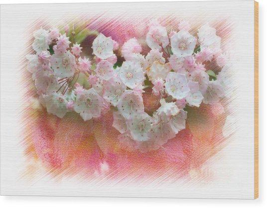 Mountain Laurel Flowers Wood Print by Dan Friend