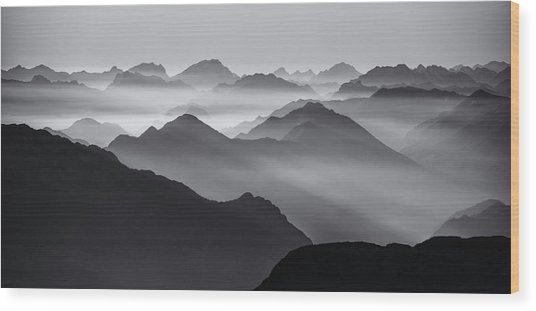 Mountain Layers Wood Print by Ales Krivec