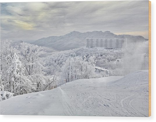 Mountain Morning After The Storm Wood Print