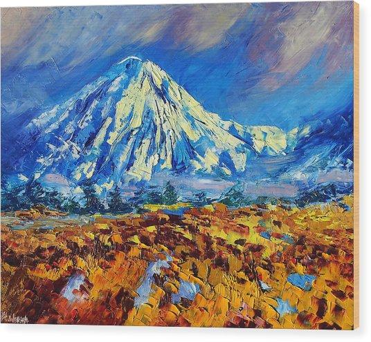 Mountain Painting Fine Art By Ekaterina Chernova Wood Print