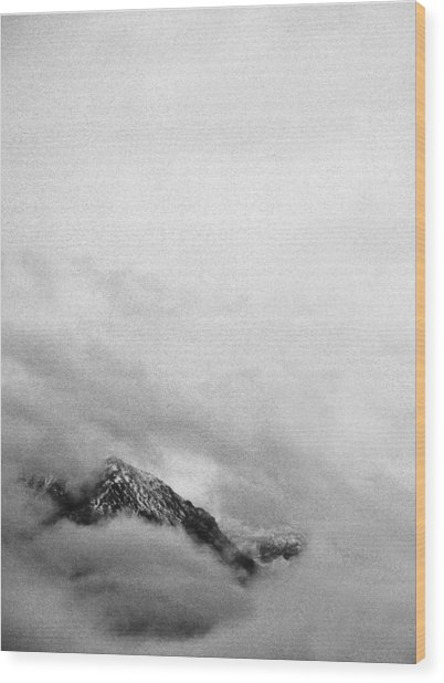 Mountain Peak In Clouds Wood Print