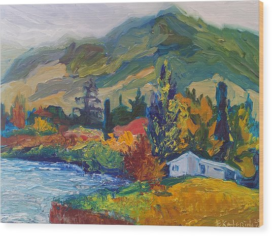 Mountain Painting Oil Landscape Ekaterina Chernova Wood Print