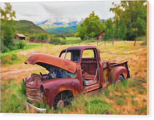 Mountain Ranch Truck Wood Print