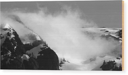 Mountain Range Black And White Three Wood Print by Diane Rada