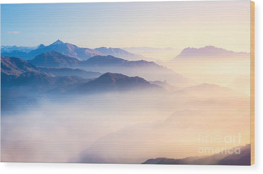 Mountain Range With Visible Silhouettes Wood Print