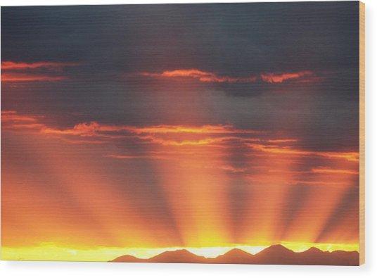 Mountain Rays Wood Print
