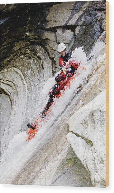 Mountain Rescue Worker Wood Print
