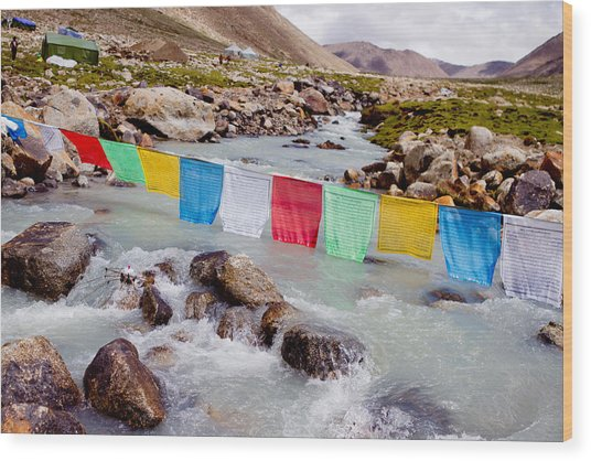 Mountain River And Buddhist Flags Lungta  Wood Print